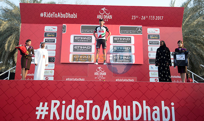 Manuele Mori (ITA) UAE Abu Dhabi wears the intermediate sprints Black Jersey on the podium at the end of Stage 1 Emirates Motor Company Stage of the 2017 Abu Dhabi Tour, running 189km from Madinat Zayed through the desert and back to Madinat Zayed, Abu Dhabi. 23rd February 2017<br /> Picture: ANSA/Claudio Peri | Newsfile<br /> <br /> <br /> All photos usage must carry mandatory copyright credit (&copy; Newsfile | ANSA)
