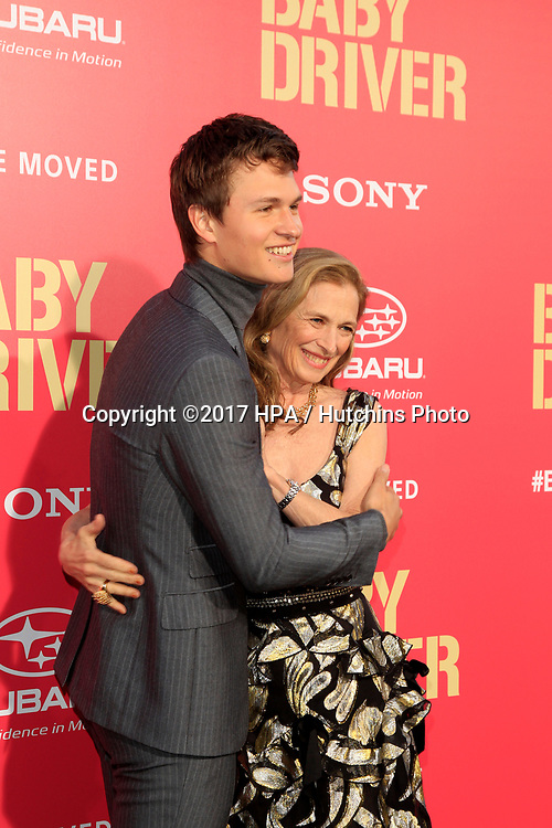 """LOS ANGELES - JUN 14:  Ansel Elgort, Grethe Barrett Holby at the """"Baby Driver"""" Premiere at the The Theater at Ace Hotel on June 14, 2017 in Los Angeles, CA"""