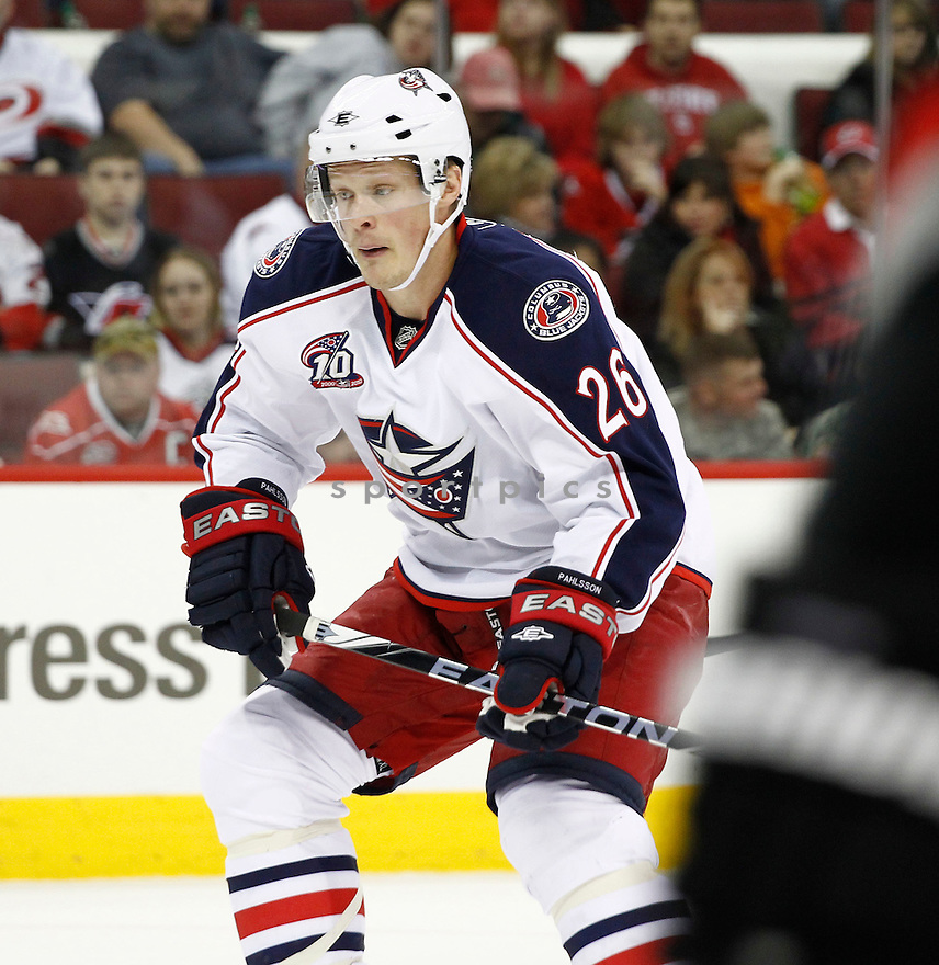 SAMUEL PAHLSSON, of the Columbus Blue Jackets, in action during the Blue Jackets game against the Carolina Hurricanes, on March 12, 2011 at the RBC Center in Raleigh, NC. The Blue Jackets beat the Hurricanes 3-2.