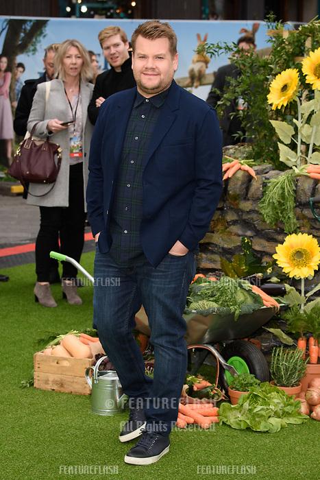 James Corden at the &quot;Peter Rabbit&quot; premiere at the Vue West End, Leicester Square, London, UK. <br /> 11 March  2018<br /> Picture: Steve Vas/Featureflash/SilverHub 0208 004 5359 sales@silverhubmedia.com