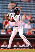 Nashville Sounds shortstop Hector Gomez (14) at bat during a game against the Omaha Storm Chasers on May 19, 2014 at Herschel Greer Stadium in Nashville, Tennessee.  Nashville defeated Omaha 5-4.  (Mike Janes/Four Seam Images)