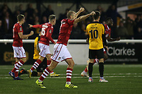 Luke Summerfield celebrates Wrexham's opening goal which was an own goal during Maidstone United vs Wrexham, Vanarama National League Football at the Gallagher Stadium on 17th November 2018