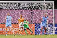 Sky Blue FC goalkeeper Jenni Branam (23) takes the ball away from Lyndsey Patterson (16) of the Atlanta Beat. Sky Blue FC defeated the Atlanta Beat 1-0 during a Women's Professional Soccer (WPS) match at Yurcak Field in Piscataway, NJ, on June 22, 2011.
