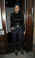 Ana Araujo.attended the Kensington Club new boutique nightclub launch party, The Kensington Club, High Street Kensington, London, England,.20th July 2012..full length turban blue navy trousers black top belt polo high neck silk satin .CAP/CAN.©Can Nguyen/Capital Pictures.