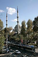 The Nusretiye Mosque and tram in Tophane, Istanbul, Turkey