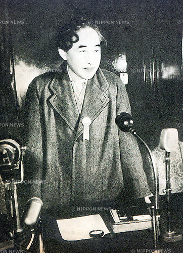 December 10, 1952, Japan - Wataru Kaji (1903 - 1982) was a novelist and a spy of Republic of China in The Second Sino-Japanese War Era. He was kidnapped by the Canon Unit during 1951-1952, that was called 'Kaji incident'. (Photo by Kingendai Photo Library/AFLO)