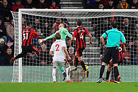 Lys Mousset of AFC Bournemouth left heads past Stoke City keeper Jack Butland for the second goal during AFC Bournemouth vs Stoke City, Premier League Football at the Vitality Stadium on 3rd February 2018