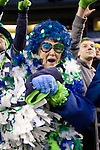 "Patti ""Mama Blue"" Hammond, Seattle Seahawks 12 Man Fan  at QWEST Field in Seattle. Jim Bryant Photo. ©2010. All Rights Reserved"