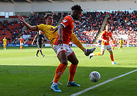 Blackpool's Joe Nuttall holds off the challenge from Milton Keynes Dons' Regan Poole<br /> <br /> Photographer Alex Dodd/CameraSport<br /> <br /> The EFL Sky Bet League One - Blackpool v MK Dons  - Saturday September 14th 2019 - Bloomfield Road - Blackpool<br /> <br /> World Copyright © 2019 CameraSport. All rights reserved. 43 Linden Ave. Countesthorpe. Leicester. England. LE8 5PG - Tel: +44 (0) 116 277 4147 - admin@camerasport.com - www.camerasport.com
