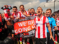 Lincoln City's Josh Ginnelly, Sean Long, Callum Howe, Ross Etheridge, Jonny Margetts, Lee Beevers, Jack Muldoon, Harry Anderson celebrate promotion<br /> <br /> Photographer Andrew Vaughan/CameraSport<br /> <br /> Vanarama National League - Lincoln City v Macclesfield Town - Saturday 22nd April 2017 - Sincil Bank - Lincoln<br /> <br /> World Copyright &copy; 2017 CameraSport. All rights reserved. 43 Linden Ave. Countesthorpe. Leicester. England. LE8 5PG - Tel: +44 (0) 116 277 4147 - admin@camerasport.com - www.camerasport.com