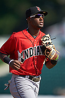 Indianapolis Indians second baseman Alen Hanson (13) jogs to the dugout in between innings during a game against the Rochester Red Wings on June 10, 2015 at Frontier Field in Rochester, New York.  Indianapolis defeated Rochester 5-3.  (Mike Janes/Four Seam Images)