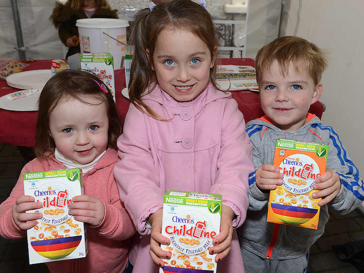 Phoebe Moss Daly, Layah Biddulph and Conor Ivers pictured at the Cheerios Breakfast Morning held at Bright Eyes Playgroup in Laytown. Photo:Colin Bell/pressphotos.ie