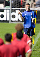 USA trainer Pierre Barrieu directs the USA training in Hamburg, Germany, for the 2006 World Cup, June, 6, 2006.