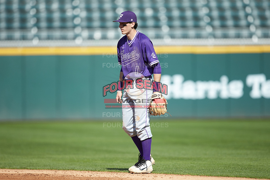 Furman Paladins second baseman Banks Griffith (1) on defense against the Wake Forest Demon Deacons at BB&T BallPark on March 2, 2019 in Charlotte, North Carolina. The Demon Deacons defeated the Paladins 13-7. (Brian Westerholt/Four Seam Images)