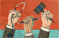 Raised fists holding stethoscope, pencil and gavel
