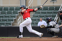 Third baseman Trey Michalczewski (27) of the Kannapolis Intimidators bats in a game against the Charleston RiverDogs on Saturday, June 28, 2014, at CMC-Northeast Stadium in Kannapolis, North Carolina. Kannapolis won, 4-3. Michalczewski is the No. 19 prospect of the Chicago White Sox, according to Baseball America.  (Tom Priddy/Four Seam Images)