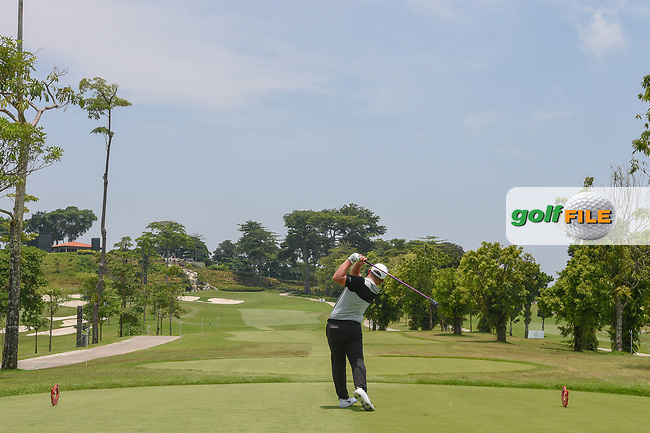 Brentt SALAS (GUM) hits his tee shot on 3 during Rd 1 of the Asia-Pacific Amateur Championship, Sentosa Golf Club, Singapore. 10/4/2018.<br /> Picture: Golffile | Ken Murray<br /> <br /> <br /> All photo usage must carry mandatory copyright credit (© Golffile | Ken Murray)