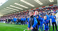 Lincoln City academy players walk around the pitch at half time<br /> <br /> Photographer Chris Vaughan/CameraSport<br /> <br /> The EFL Sky Bet League Two - Lincoln City v Cheltenham Town - Saturday 13th April 2019 - Sincil Bank - Lincoln<br /> <br /> World Copyright &copy; 2019 CameraSport. All rights reserved. 43 Linden Ave. Countesthorpe. Leicester. England. LE8 5PG - Tel: +44 (0) 116 277 4147 - admin@camerasport.com - www.camerasport.com