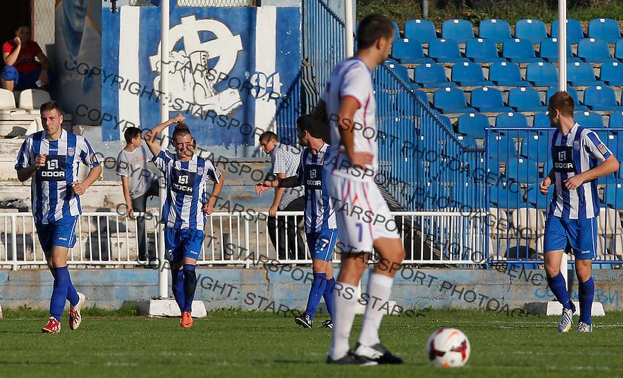 Fudbal Super liga season 2013-2014<br /> Ofk Beograd v Jagodina<br /> Dejan Drazic (C) celebrates the goal<br /> Beograd, 09.11.2013.<br /> foto: Srdjan Stevanovic/Starsportphoto &copy;