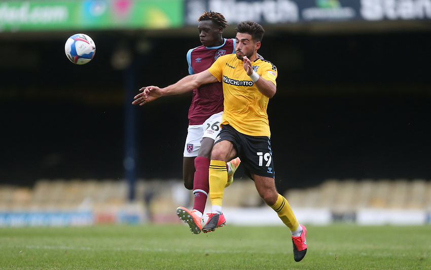 West Ham United's Emmanuel Longelo and Southend United's Eren Kinali<br /> <br /> Photographer Rob Newell/CameraSport<br /> <br /> EFL Trophy Southern Section Group A - Southend United v West Ham United U21 - Tuesday 8th September 2020 - Roots Hall - Southend-on-Sea<br />  <br /> World Copyright © 2020 CameraSport. All rights reserved. 43 Linden Ave. Countesthorpe. Leicester. England. LE8 5PG - Tel: +44 (0) 116 277 4147 - admin@camerasport.com - www.camerasport.com