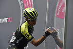 Esteban Chaves (COL) Mitchelton-Scott at sign on before the start of Stage 21 of the 2018 Giro d'Italia, running 115km around the centre of Rome, Italy. 27th May 2018.<br /> Picture: LaPresse/Marco Alpozzi | Cyclefile<br /> <br /> <br /> All photos usage must carry mandatory copyright credit (&copy; Cyclefile | LaPresse/Marco Alpozzi)
