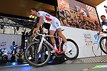 FDJ team on stage at the Team Presentation in Burgplatz Dusseldorf before the 104th edition of the Tour de France 2017, Dusseldorf, Germany. 29th June 2017.<br /> Picture: Eoin Clarke | Cyclefile<br /> <br /> <br /> All photos usage must carry mandatory copyright credit (&copy; Cyclefile | Eoin Clarke)