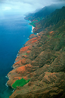 Cliffs and hidden beaches, aerial view of Napali coast, Kauai, Hawaii N. Pacific Ocean