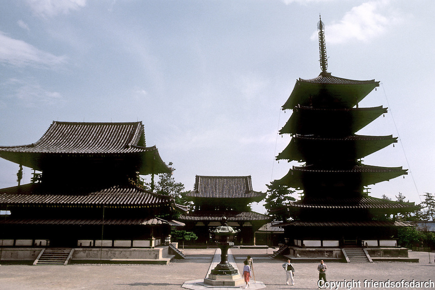 Nara Prefecture: Horyuji, Sai-in Garan, or West Minster Golden Hall and Pagoda from steps of lecture hall. Photo '82.