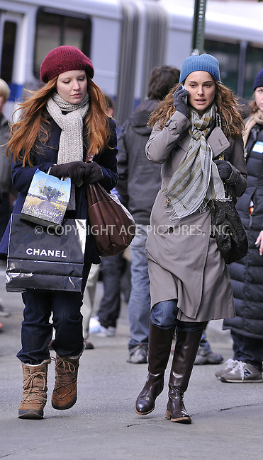WWW.ACEPIXS.COM . . . . .  ....November 11 2008, New York City....Actors Natalie Portman (R) and Lauren Ambrose on the Upper East Side set of the new movie 'Love and other impossible pursuits' on November 11 2008 in New york City.....Please byline: AJ Sokalner - ACEPIXS.COM..... *** ***..Ace Pictures, Inc:  ..te: (646) 769 0430..e-mail: info@acepixs.com..web: http://www.acepixs.com