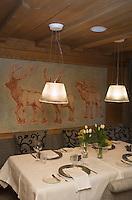 "Europe/Italie/Trentin Haut-Adige/Dolomites/Alta Badia/env de San Cassiano/Pedraces:  Hotel ""Sporthotel Teresa "" le restaurant"