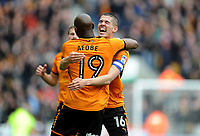 CELe - Wolverhampton Wanderers' Benik Afobe celebrates scoring his side's second goal with team mate Conor Coady<br /> <br /> Photographer Ashley Crowden/CameraSport<br /> <br /> The EFL Sky Bet Championship - Wolverhampton Wanderers v Birmingham City - Sunday 15th April 2018 - Molineux - Wolverhampton<br /> <br /> World Copyright &copy; 2018 CameraSport. All rights reserved. 43 Linden Ave. Countesthorpe. Leicester. England. LE8 5PG - Tel: +44 (0) 116 277 4147 - admin@camerasport.com - www.camerasport.com