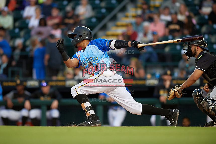 Bradenton Marauders Adrian Valerio (2) bats during a Florida State League game against the Jupiter Hammerheads on April 20, 2019 at LECOM Park in Bradenton, Florida.  Bradenton defeated Jupiter 3-2.  (Mike Janes/Four Seam Images)