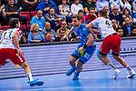 SCHMIDT, David (#77 TVB 1898 Stuttgart) \SCHOLZ, Jonathan (#11 DIE EULEN LUDWIGSHAFEN) \DIPPE, Kai (#43 DIE EULEN LUDWIGSHAFEN) \ beim Spiel in der Handball Bundesliga, TVB 1898 Stuttgart - Die Eulen Ludwigshafen.<br /> <br /> Foto &copy; PIX-Sportfotos *** Foto ist honorarpflichtig! *** Auf Anfrage in hoeherer Qualitaet/Aufloesung. Belegexemplar erbeten. Veroeffentlichung ausschliesslich fuer journalistisch-publizistische Zwecke. For editorial use only.