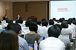 Toshiba Corp. President Satoshi Tsunakawa speaks during a news conference at the company headquarters on August 10, 2017, Tokyo, Japan. Tsunakawa reported approximate 965.7 billion yen ($8.8 billion)loss for itsFiscal Year 2016 to March 31, 2017. Toshiba avoided being delisted from Tokyo Stock Exchange by announcing its delayed financial results. (Photo by Rodrigo Reyes Marin/AFLO)