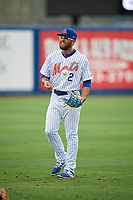 St. Lucie Mets center fielder Desmond Lindsay (2) warms up before the first game of a doubleheader against the Charlotte Stone Crabs on April 24, 2018 at First Data Field in Port St. Lucie, Florida.  St. Lucie defeated Charlotte 5-3.  (Mike Janes/Four Seam Images)