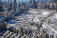 aerial photograph Central Park, Manhattan, New York City after a snow storm