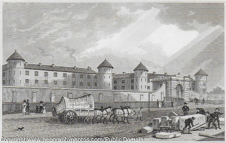 Penitentiary, Millbank, Westminster, engraving from 'Metropolitan Improvements, or London in the Nineteenth Century' London, England, UK 1828, drawn by Thomas H Shepherd