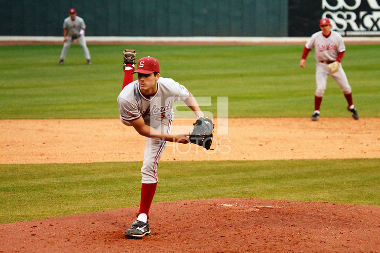 NASHVILLE, TENNESSEE-Feb. 25, 2011:  Starter Mark Appel of Stanford prepares to deliver a pitch during a game at Vanderbilt University in Nashville, Tennessee.  Vanderbilt defeated Stanford 2-1.