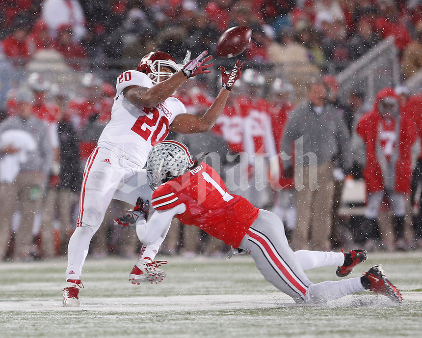 Ohio State Buckeyes cornerback Bradley Roby (1)breaks up a pass meant for *Indiana Hoosiers running back D'Angelo Roberts (20) at Ohio Stadium in Columbus, Ohio on November 23, 2013.  (Chris Russell/Dispatch Photo)