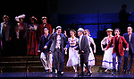 "Clyde Alves and Joel Grey and cast during the final performance curtain call for the New York City Center Encores! at 25 production of  ""Hey, Look Me Over!"" on February 11, 2018 at the City Center Theatre in New York City."