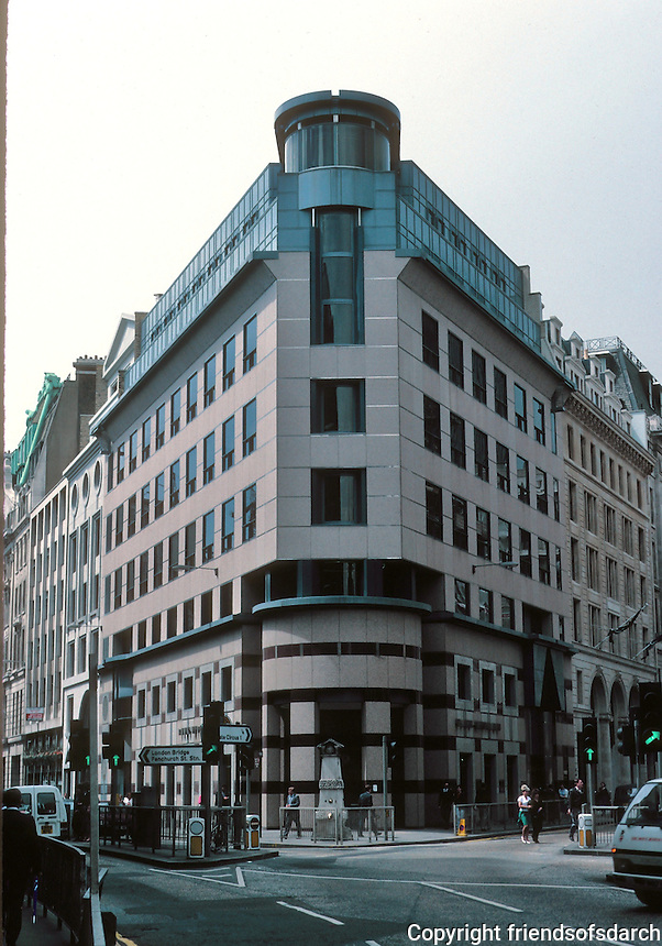 Terry Farrell: Post-Modern corner office building convergence of Leadenhall and Fenchurch Streets, London. Late '80's. Photo '90.