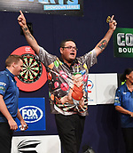 10th January 2018, Brisbane Royal International Convention Centre, Brisbane, Australia; Pro Darts Showdown Series; Raymond O'Donnel (AUS) celebrates his victory over Devon Peterson (RSA) 5 to 4