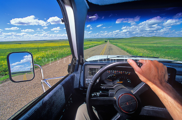 Driving across the Great Plains at Grand River National Grassland near Bison, South Dakota, AGPix-0306