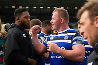Jacques van Rooyen of Bath Rugby celebrates the win. Gallagher Premiership match, between Leicester Tigers and Bath Rugby on May 18, 2019 at Welford Road in Leicester, England. Photo by: Patrick Khachfe / Onside Images