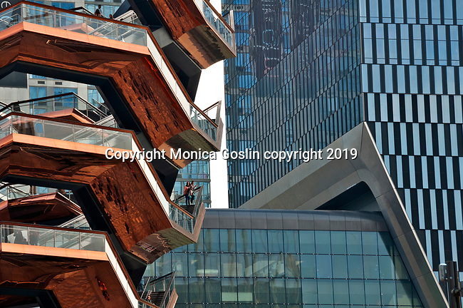 The Vessel (or Hudson Yards Staircase), a structure made entirely of stairs in the middle of the Hudson Yards; The Vessel was designed by British designer Thomas Heatherwick