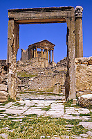 "Tunisia, Dougga.  Roman Ruins.  The Capitol, seen through the door of the ""Unnamed Temple."""