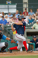 Potomac Nationals outfielder Jack Sundberg (14) at bat during a game against the Myrtle Beach Pelicans at Ticketreturn.com Field at Pelicans Ballpark on July 1, 2018 in Myrtle Beach, South Carolina. Myrtle Beach defeated Potomac 6-1. (Robert Gurganus/Four Seam Images)