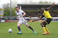 Bolton Wanderers Craig Noone in action with Burton Albion's Lucas Atkins<br /> <br /> Photographer Mick Walker/CameraSport<br /> <br /> The EFL Sky Bet Championship - Burton Albion v Bolton Wanderers - Saturday 28th April 2018 - Pirelli Stadium - Burton upon Trent<br /> <br /> World Copyright &copy; 2018 CameraSport. All rights reserved. 43 Linden Ave. Countesthorpe. Leicester. England. LE8 5PG - Tel: +44 (0) 116 277 4147 - admin@camerasport.com - www.camerasport.com