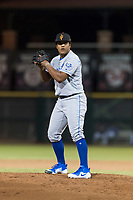 Surprise Saguaros relief pitcher Arnaldo Hernandez (37), of the Kansas City Royals, gets ready to deliver a pitch during an Arizona Fall League game against the Scottsdale Scorpions at Scottsdale Stadium on October 15, 2018 in Scottsdale, Arizona. Surprise defeated Scottsdale 2-0. (Zachary Lucy/Four Seam Images)