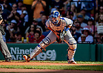 22 June 2019: Toronto Blue Jays catcher Luke Maile in action during the second inning against the Boston Red Sox at Fenway :Park in Boston, MA. The Blue Jays rallied to defeat the Red Sox 8-7 in the 2nd game of their 3-game series. Mandatory Credit: Ed Wolfstein Photo *** RAW (NEF) Image File Available ***